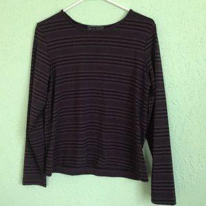 Women's Laura Scott Purple Striped Long Sleeve Tee